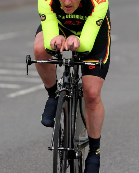 Derek Ricketts in action at the Shaftesbury CC 25-mile Middlemarkers TT.