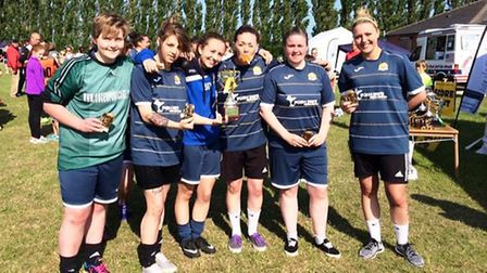 March Town Ladies' Hungate six-a-side winning side, the Hares Blues.