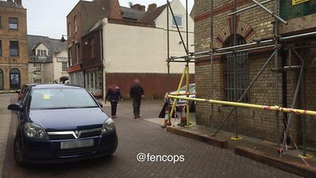 Police removed this car they said was causing an obstruction in Wisbech