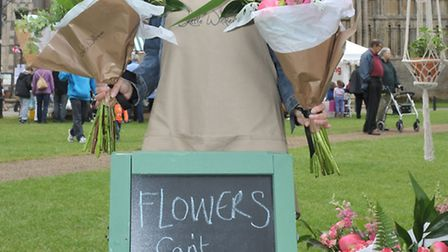 Etheldreda Craft and Food Fair, Palace Green Ely. Lucy Evans selling Flower. Picture: Steve William
