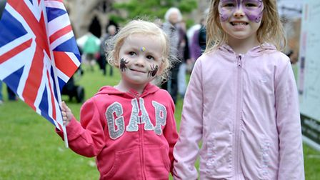 Etheldreda Craft and Food Fair, Palace Green Ely. Emily and Holly with their union flag. Picture: St