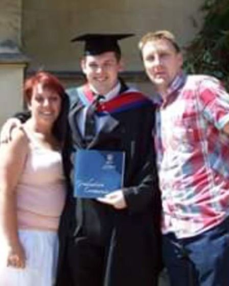 Janice and Tony Cooper with their nephew Daniel at his graduation - the little boy in the Noddy car