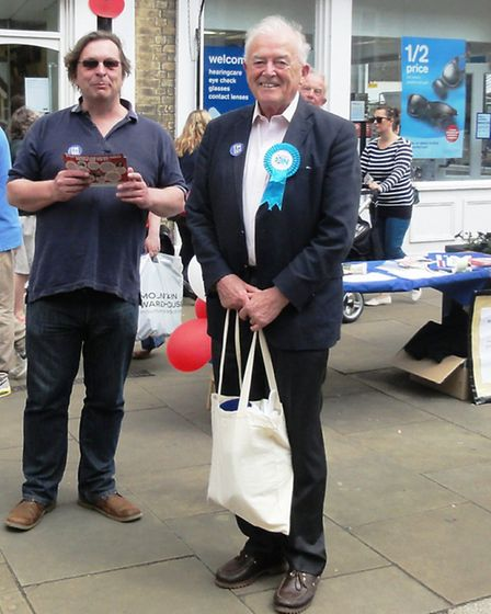 Ian Young and Lord Richard Balfe campaigning in Ely