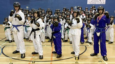 Mark Farnham Schools of Tae Kwon-Do with their prizes from the Welsh Open Championships.