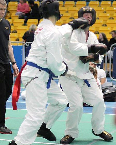 Matt Seymour on the attack at the Welsh Open Championships.