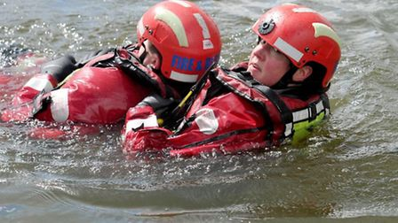 Cambridgeshire Fire and Rescue carry out water safety training