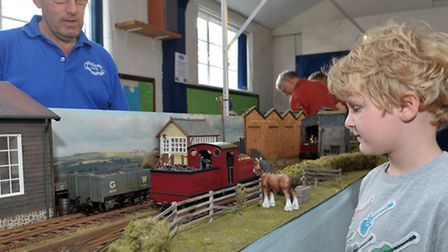 Whittlesey model railway exhibition. Daniel Hammond looking at the model layout. Picture; Steve Will
