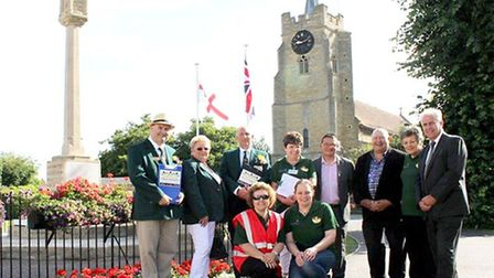 In Bloom volunteer Julie Smith with judges Terry Bane and Chris Durham at St Peter's Church, Chatter