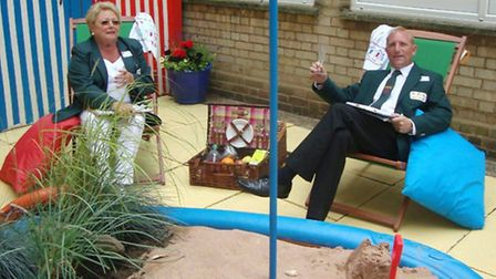In Bloom judges Sue Hacon and Chris Durham in the seaside garden at Sir Harry Smith Community Colleg