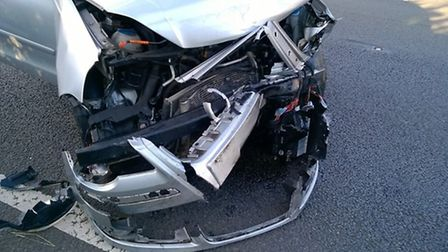 One of the cars that was written off by the crash