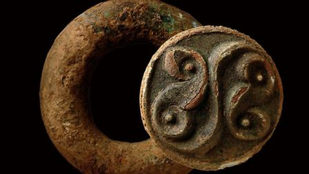 Late Iron Age baldric ring with La Tène style decoration, probably part of a shoulder belt for carry