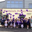 John Powley joins students at the opening of the new Weatheralls extension