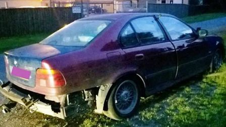 The BMW which sped off from police officers in Little Downham