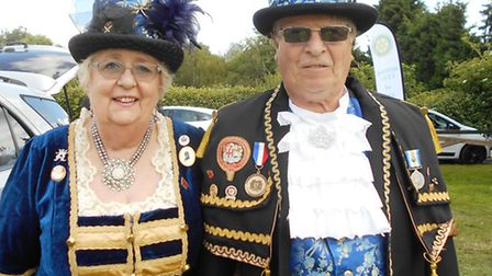 Town crier Avril Hayter-Smith and husband Graham arriving on the field