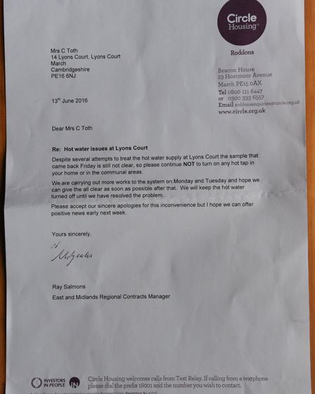 Letter from Circle with address listed as March
