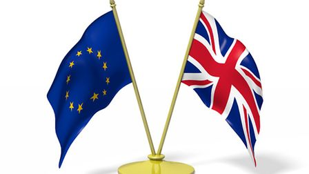 Two flags - European Union and Great Britain