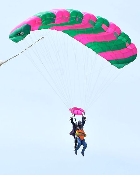 80 year old Margaret skydiving with granddaughter Sophie. Picture: Steve Williams.