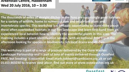 The Aquatic Plants: Ditch biodiversity workshop is to take place in Haddenham on Wednesday July 20.