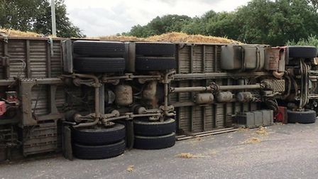 The lorry which overturned on the A142 near Mepal yesterday