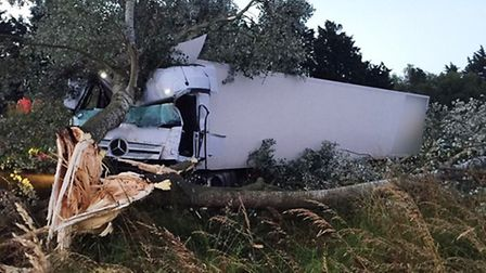 Two Ely crews were called to this road traffic collision earlier this morning after a lorry had coll