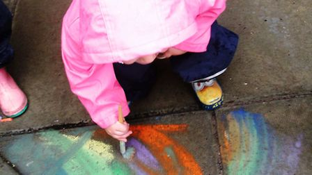 Children at Bright Horizons Ely Day Nursery and Preschool used the rainy British weather to paint th