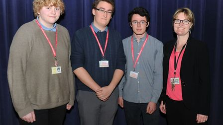 Neale Wade EU hustings with candidates L to R Morgan Chappell, Alfie Cook and Christopher Harvey-Haw