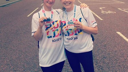 Three Counties Running Club members Lauren Murrell and Lucie Broomfield after the Vitality British 1
