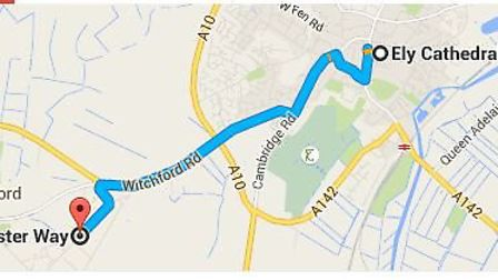 2.5 miles from Ely Cathedral to Lancaster Way