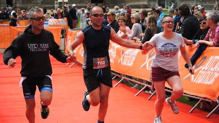 Mick Stacey, Tim Boyd and Pauline Boyd at the Holkham Half Iron Man.