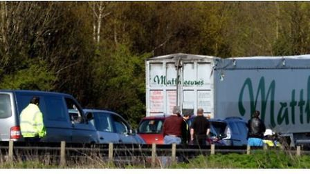 The scene of the multi vehicle accident on the A14 by the Rougham Industrial Estate