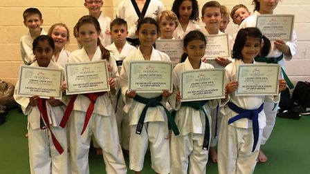 Juniors from the Ely school of the Mark Farnham Schools of Tae Kwon-Do after their colour belt gradi