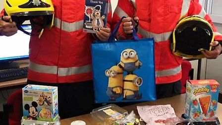 Hamper of gifts left for March firefighters