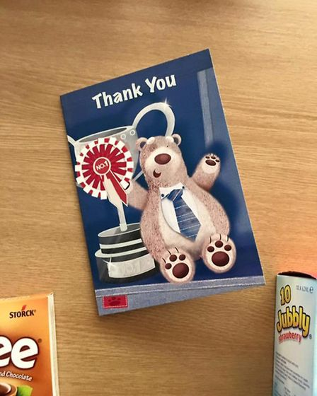 The thank you card received by firefighters