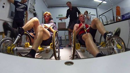 Guy Martin in training on one of the Little Thetford bike shop recumbents