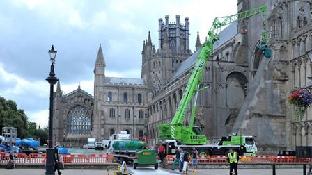 Filming at Ely Cathedral. Picture; Steve Williams.