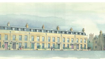 View shows the proposed six terraced houses on Barton Road, the rear access to these properties and