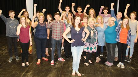 The cast of Made in Dagenham with Kerry Hibbert (Rita) at the front