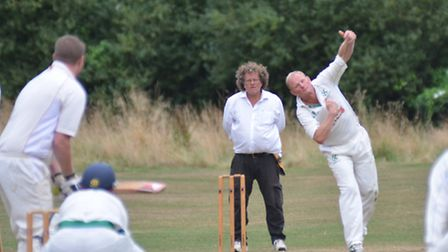 Colin Vowden bowling for Burwell 2nds.