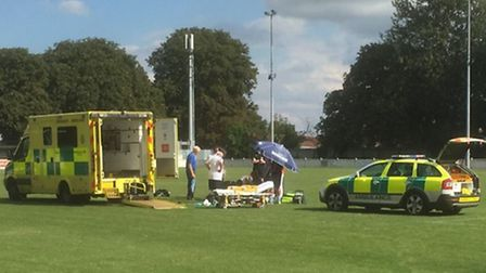 Norwich United's Andy Eastaugh was treated on the pitch at Julius Martin Lane before being taken to