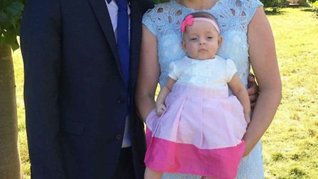 Baby Effie with her parents Peter Whittlesey and Jade Peachey