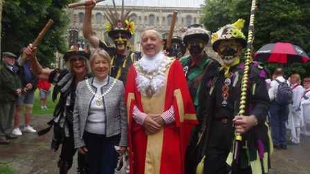 Ely Mayor Cllr Ian Lindsay and his wife Suzanne with the morris dancers