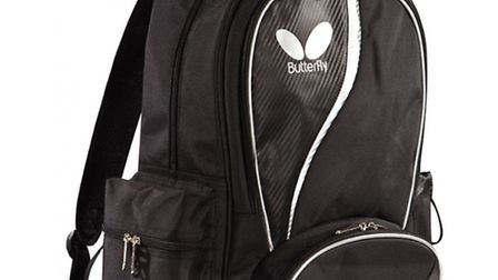 STOLEN: A black and white butterfly rucksack containing table tennis equipment belonging to the Chai