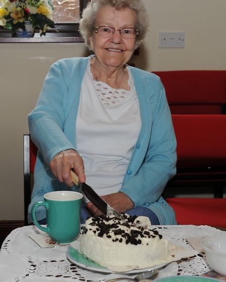 Elsie Lawrence with knit and natter group at Manea Methodist Chapel