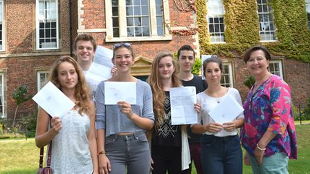 King's Ely A Level results: (l-r) India Baines, Ross Campbell, Maddie Reed, Phoebe Ryan, Tom Warner,