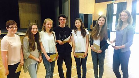 Emily Tsang – the highest achieving student at Neale-Wade with A* A* A is third from right.