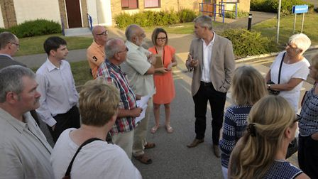 MP Steve Barclay addressing those who couldn't get into the CCG meeting, Doddington.