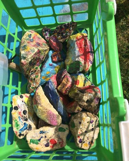 Grace Jolly has set up a free roadside stall with happy stones to brighten people's day