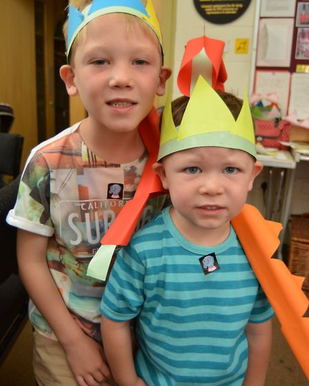 Ely Museum Dynamic Dinosaurs: (l-r) Alex and brother Isaac, with their dinosaur hats.