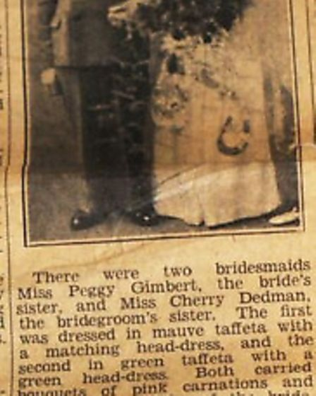 Joyce and Roland's wedding report in the Cambs Times.