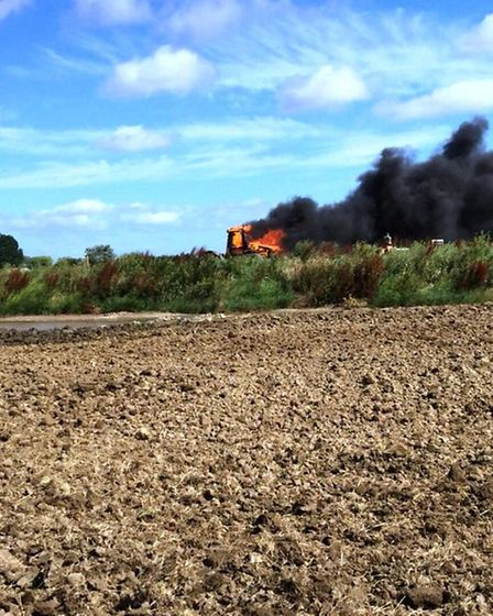 A tractor belonging to Strattons catches fire